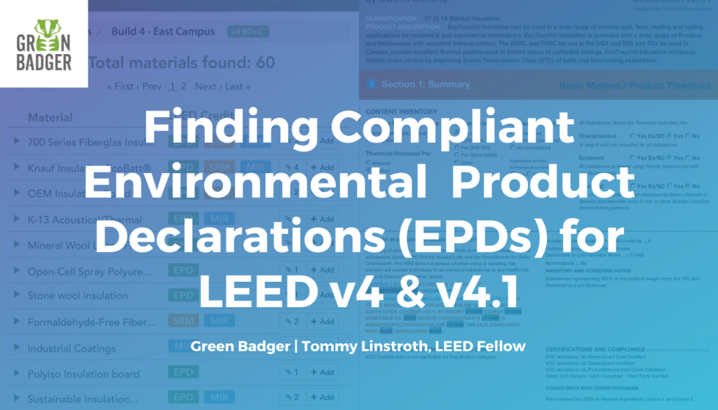 Finding environmental product declarations for LEED v4