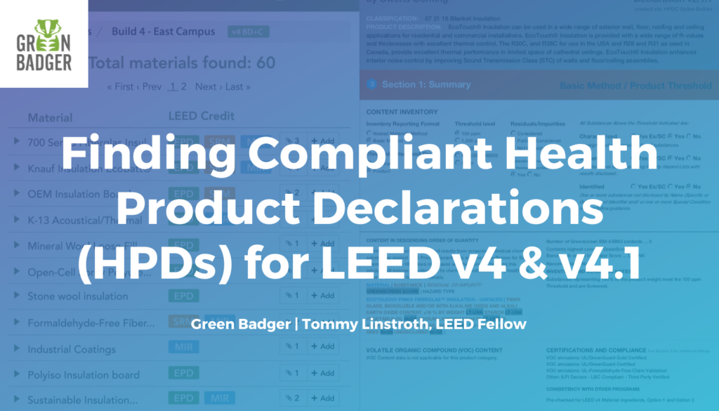 finding health product declarations leed v4 green badger
