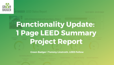 Functionality Update: 1 Page LEED Summary Project Report