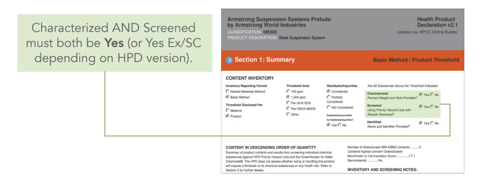 Characterized AND screened must both be Yes, or Yes Ex/SC depending on HPD LEED version.