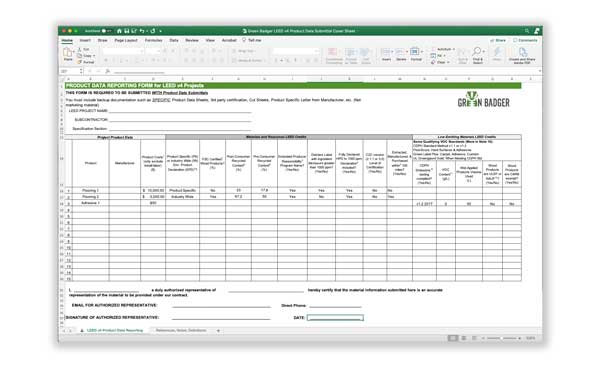 LEED v4 materials coversheet submittal