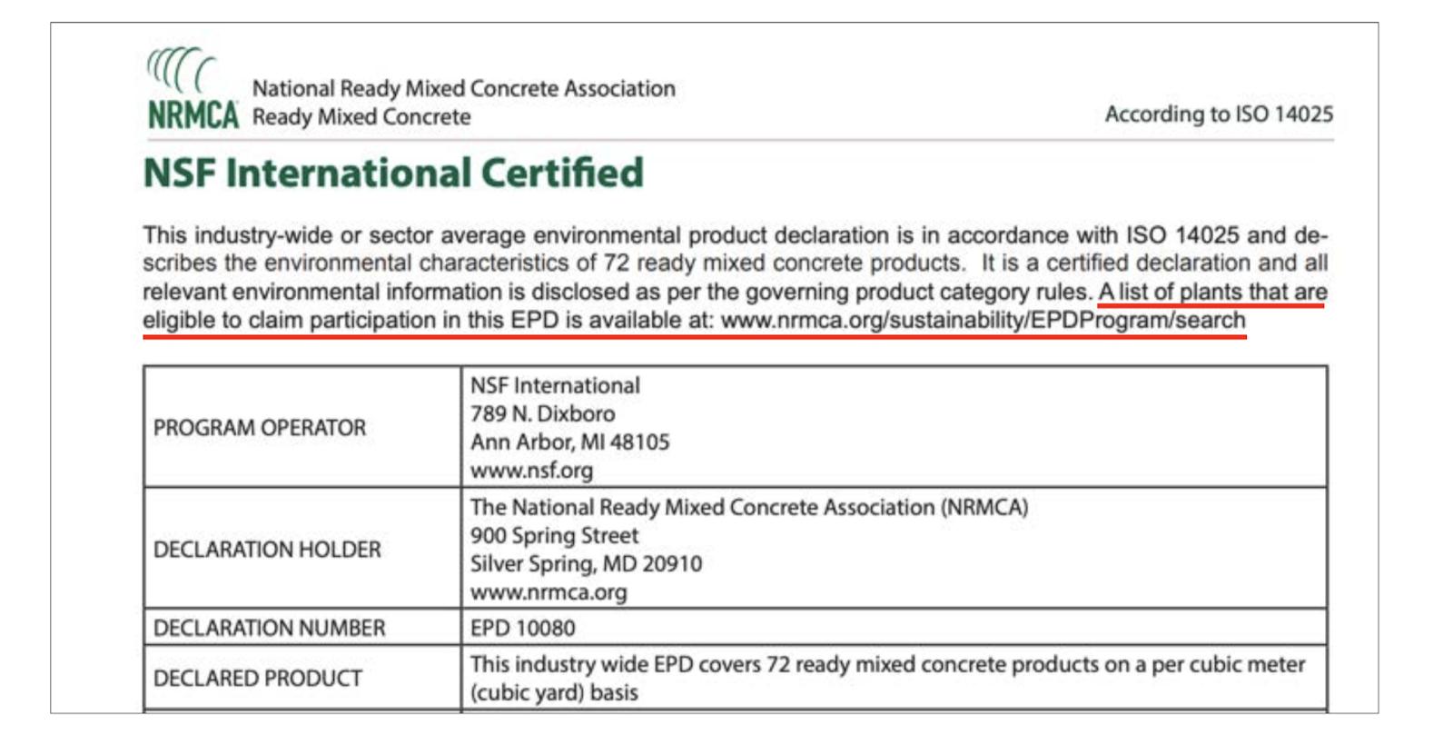 NSF International EPD industry wide Green Badger LEED