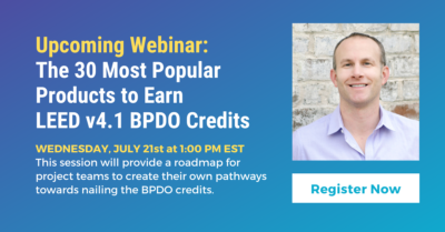 Webinar Green Badger presents The 30 Most Popular Products to Earn v4.1 BPDO Credits