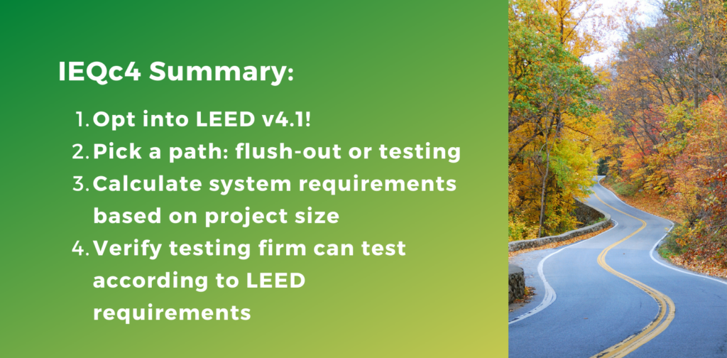 Summary for Achieving IEQc4 - LEED Indoor Air Quality Assessment