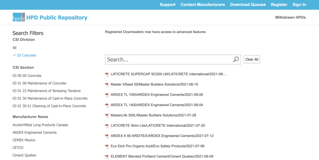 HPDC Public Repository for health product declarations