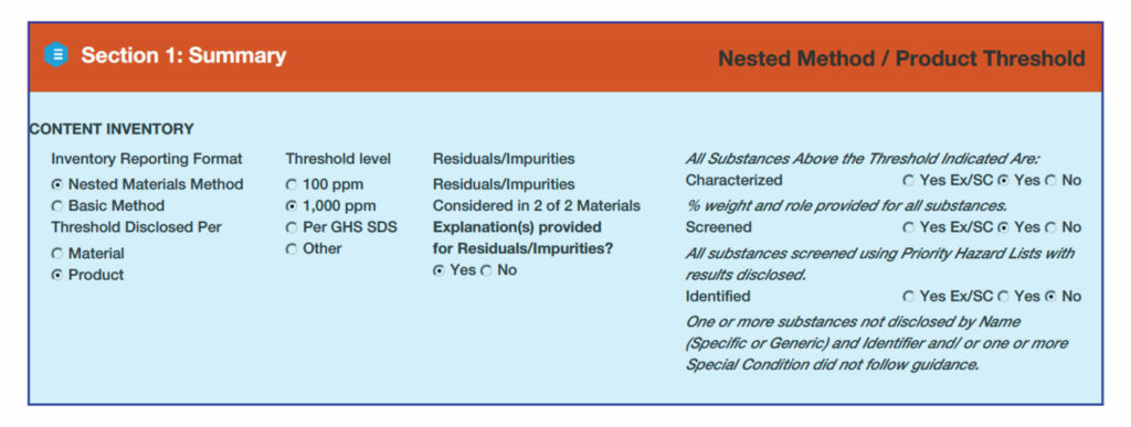 Health product declaration example section 1 summary