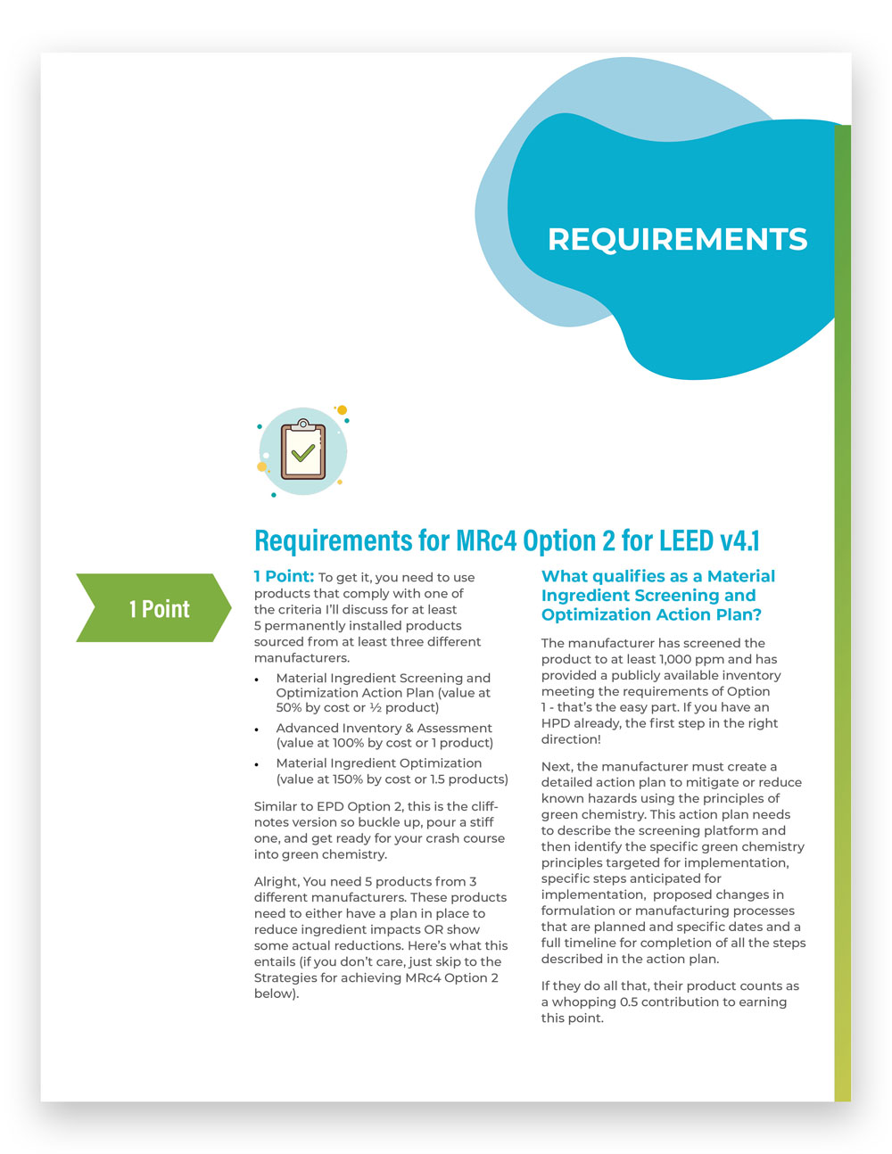 LEED Material Ingredient Optimization requirements